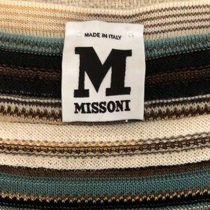 M Mossoni Sleeveless Sweater Knit Striped Tank Top